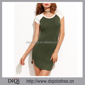 Top Fashion Sexy Girls Color Block Slit Side Tee Dress