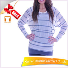 95%Cotton/5%Spandex yarn dyed long sleeve black white stripe t shirt for women