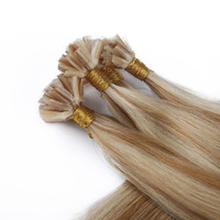 Piano color 2016 new fashion! Russian nail U- tip human hair extension silky straight #27/613 blonde to brown