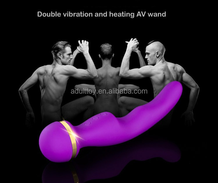 Double shock and heating AV wand silicone vibrating wand waterproof vibrator wand massager magic wand sex toy