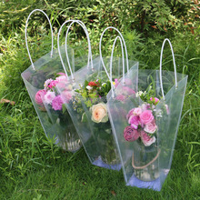 Custom make Clear decorative fresh flower packagin carry bags with handle