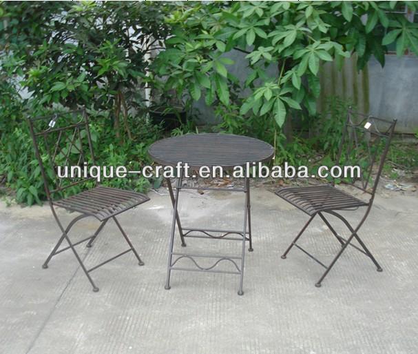 rustikal metall faltung bistro set gartenm bel set im garten produkt id 1518345874 german. Black Bedroom Furniture Sets. Home Design Ideas
