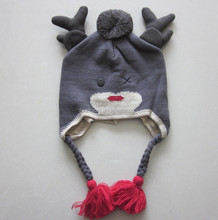 100% acrylic knitted cute fashion earflap hat