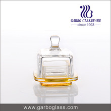 Mini candy jar glass with fresh yellow spray