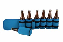 Portable Insulated Drink Carrier with shoulder strap, Neoprene, holds 1-7 Bottle or Can Holder