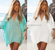 2016 New 2015 Sexy Cotton Ruffled Crochet Cover up Beach Dress