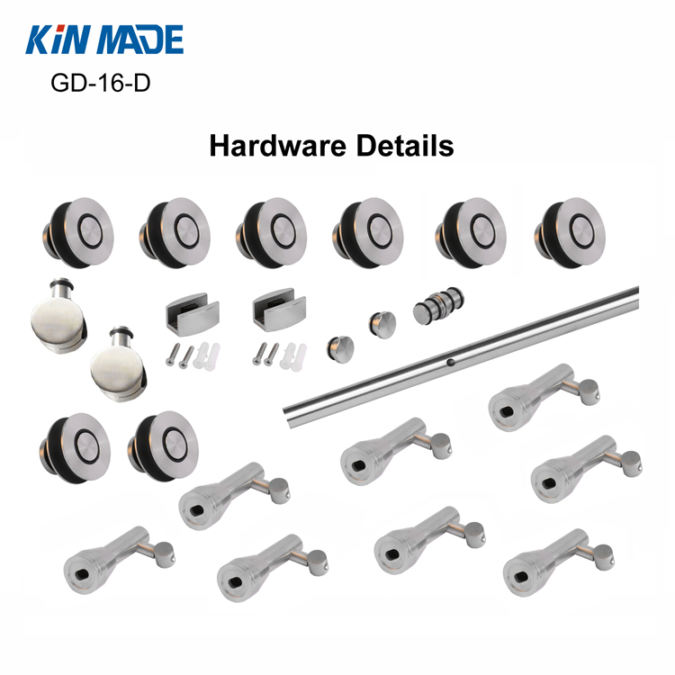 Stainless Steel Ceiling Mount Sliding Door Hardware Office Glass Partition System