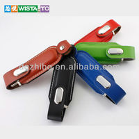 Free stamp logo leather usb flash drive 1GB/16GB for promotional gift