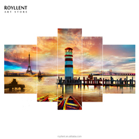 5 Panel Canvas Wall Art Romantic Tower Landscape House Painting Frame Picture Printing Bedroom Hotel Interior Decoration RA0216