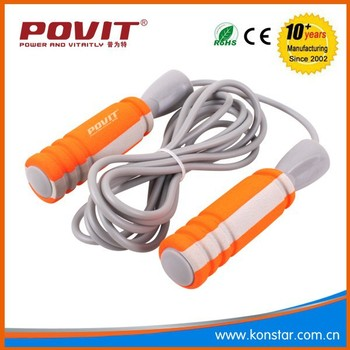 Fitness Adjustable Bearing Speed Jump Rope, Skipping Rope with bearing in soft handle and PVC rope.POVIT OEM