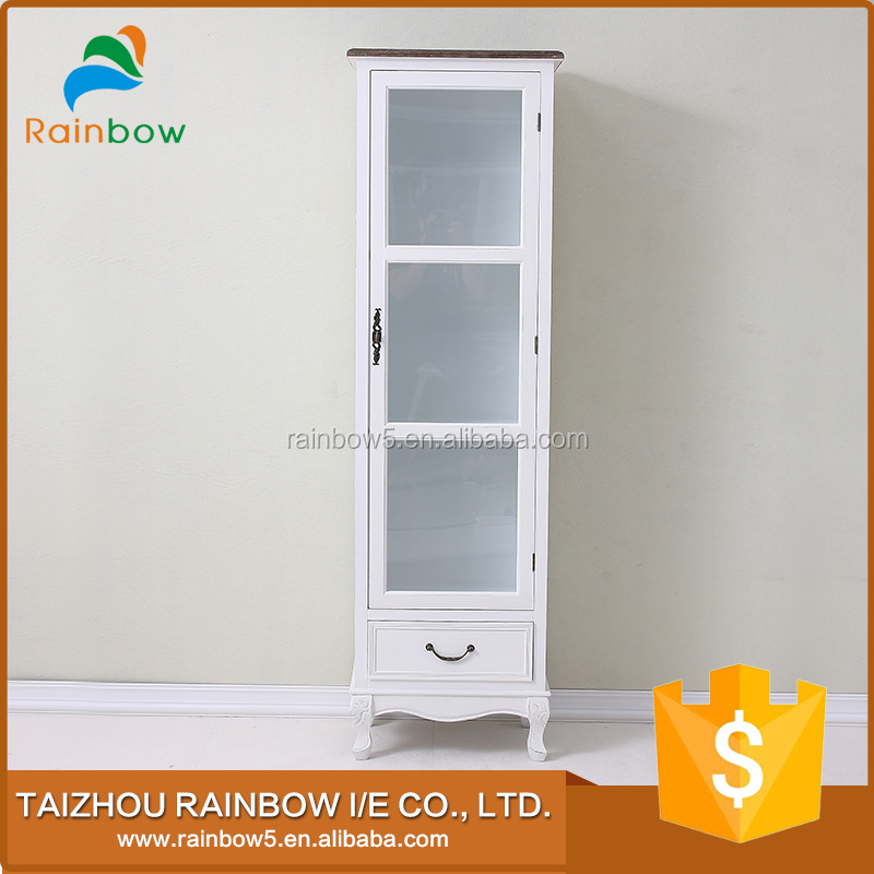 living room furniture set antique paulownia wooden corner cabinet with glass door in white color