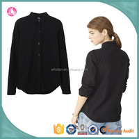 ladies top quality cheap black oxford long sleeve casual shirt design