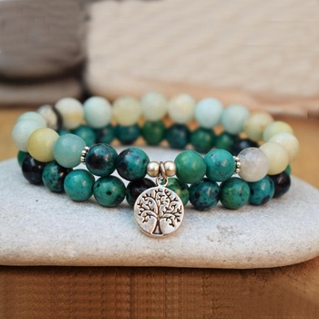 SN1594 Set Of 2  Stacking Bracelets Men Women Tree Of Life Bracelet Amazonite & Chrysocolla Healing Stone Energy Bracelet