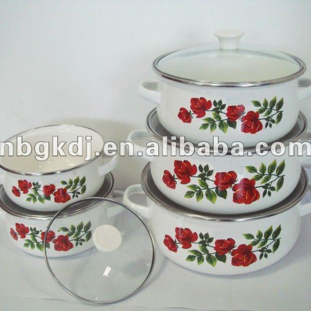 enamel cookware sets with metal lid and handle