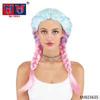 Colorful synthetic Christmas halloween braided candy cosplay wig for whole sale
