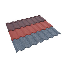 Al-Zinc Steel Kingbeck Stone Coated Red Color Metal Roof Tile