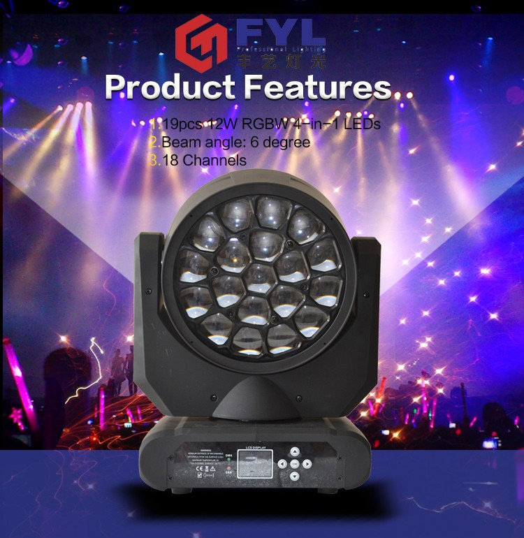 guangzhou professional 19x12W stage led moving head rgbw wash light