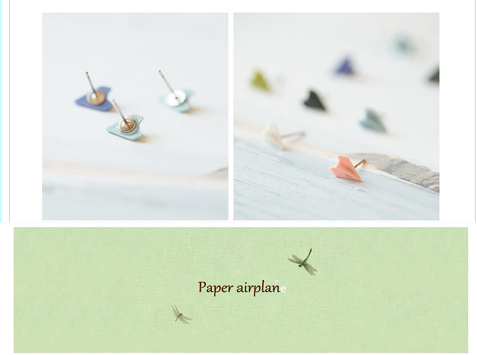 women enamel airplane design wholesale new simple women's earrings studs accessories