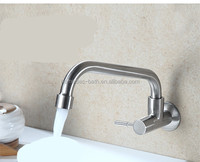 Stainless steel brushed wall mounted cold water kitchen faucet tap