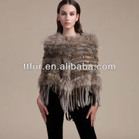 TT-831 girls rabbit fur knitted poncho with raccoon fur trimming /fur shawl
