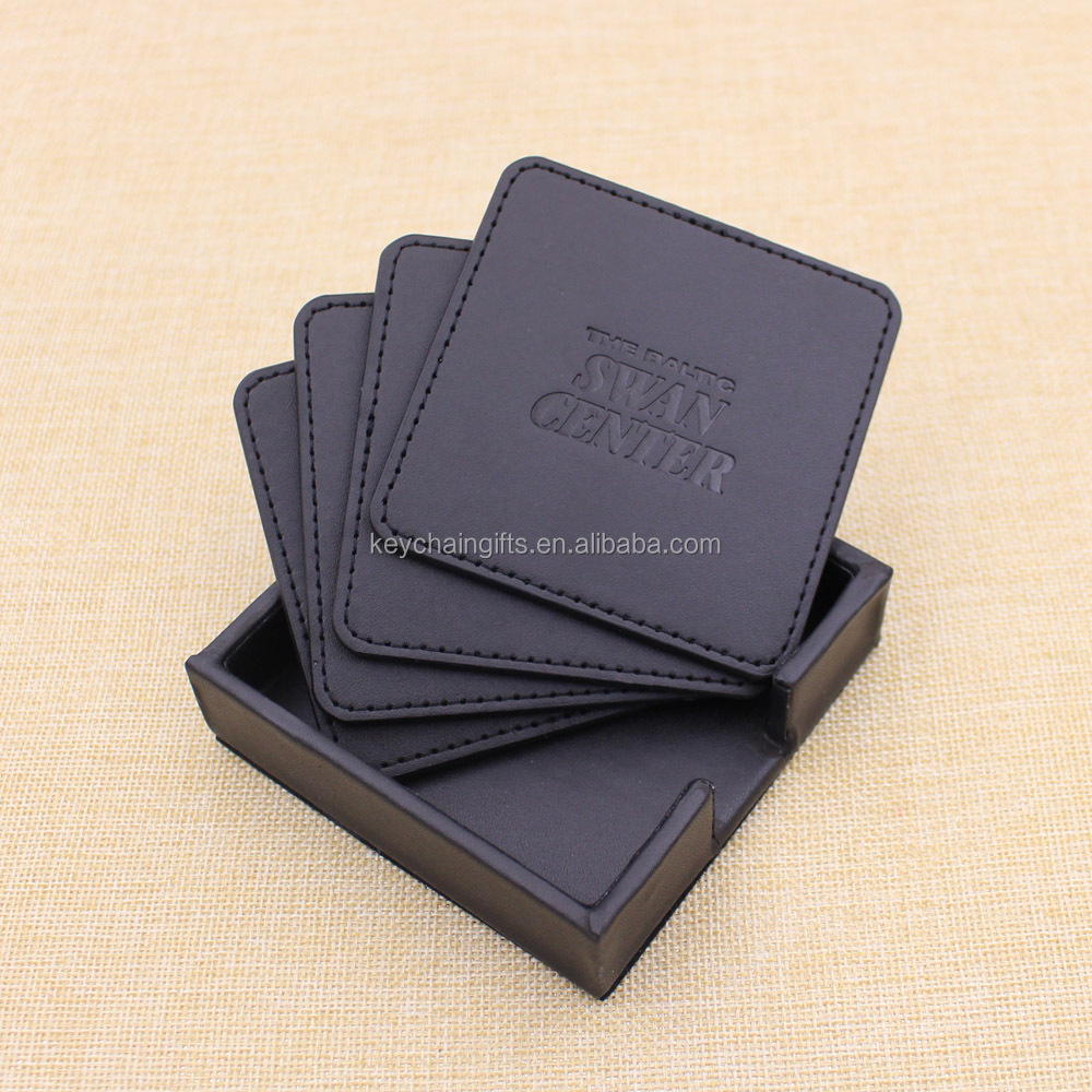 High quality promotion gifts blank leather coasters / cup mat with box