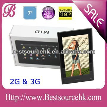 The newest and high quality 7 inch Android tablet pc 3G with build-in Sim Card slot Phone Call