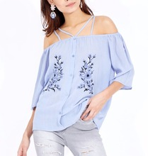 Fashion Women Top New Model Boat Neck Blouse Designs For Ladies Summer Clothing