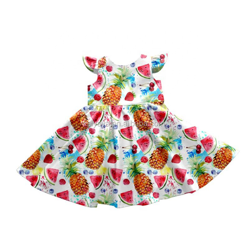 Fruit Printing Wholesale Baby Dress Frock Design Pictures Girl's Boutique Dress Tanks Skirt For Girls