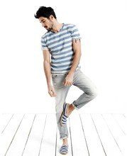 fashion design for blue and white striped round neck t shirt