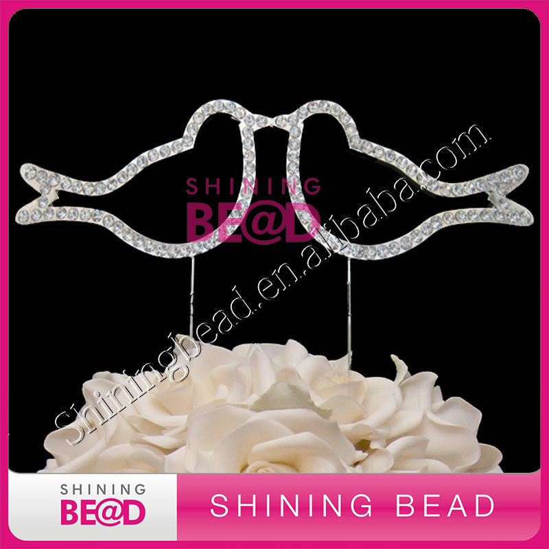 Doves wedding cake topper for love,cake decoration doves rhinestone cake topper