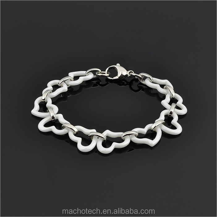 Hot sale ceramic bracelet stainless steel black and white ceramic bracelet