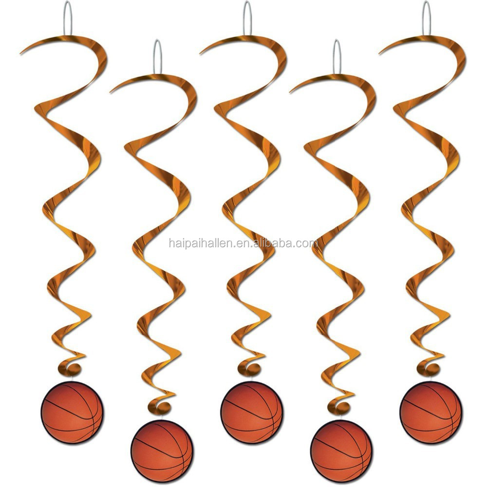 Basketball Sports 12pcs Hanging Swirl Decorations Birthday Party Supplies