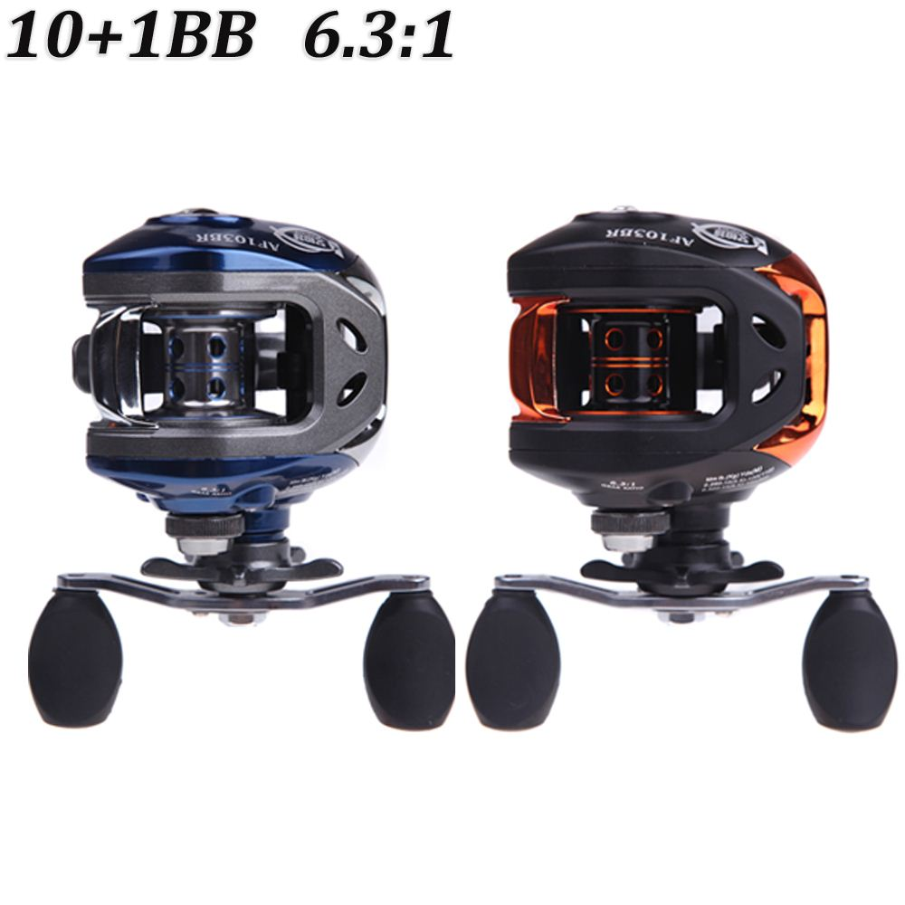 NEW 10+1BB Ball Bearings Right Hand Baitcasting Fishing Reel 6.3:1 Carp Fishing Gear 203g AF103 Blue/Black
