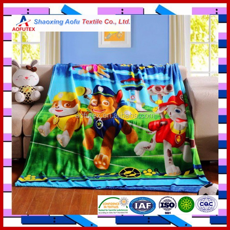 Panel printed Cartoon Animal Bed Fleece Blanket For Children Baby Kids Adults