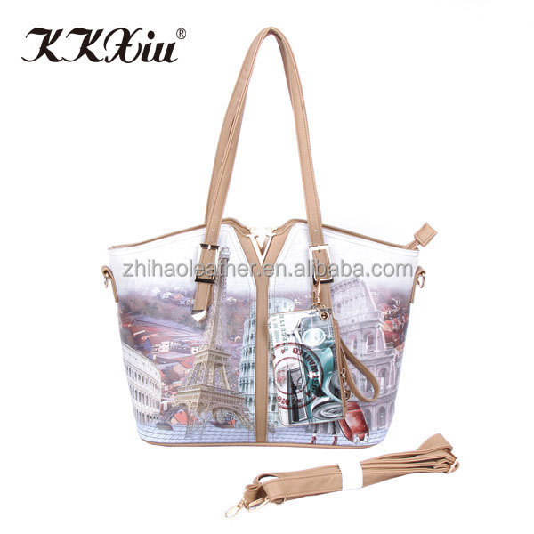 China wholesale casual PU leather ladies shoulder bags on Guangzhou wholesale market