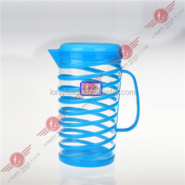 Stripe style blue color Plastic small water pitcher with lid