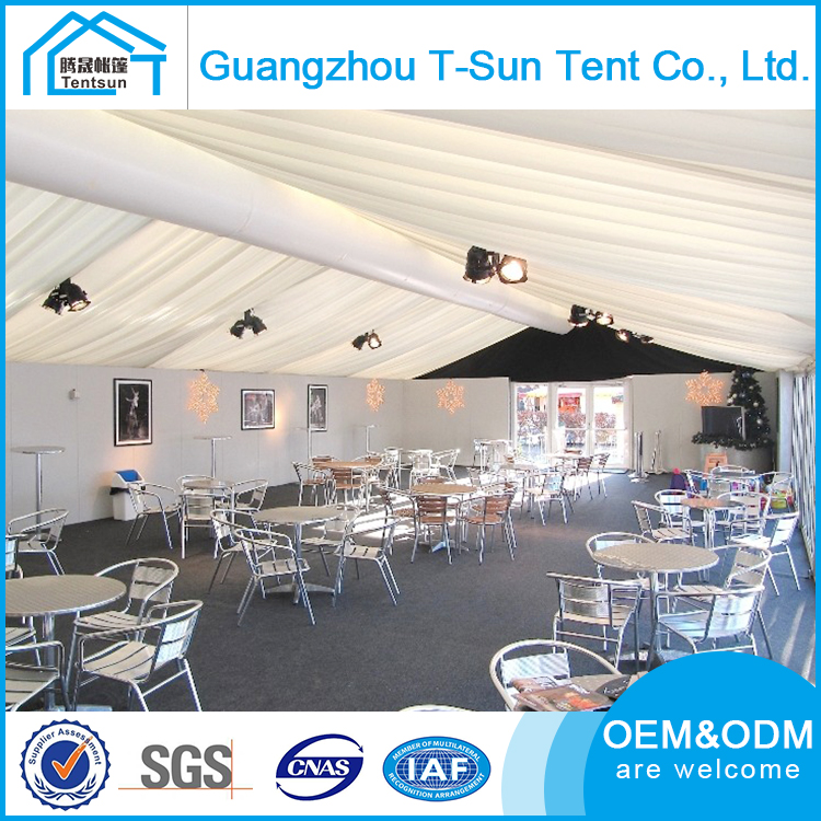 10x15 Marquee Tent with Transparent Rainproof Pvc Coat Loading Cold Weather