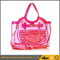 Lady's Semi-Clear PVC Beach Handbag Shoulder Bag Tote with Small Cosmetic Bag