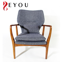 Scandinavian leisure upholstered chair restaurant wooden dining arm chair with grey farbic cushion