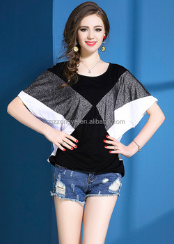 2017 latest design summer geometric figure Contrast color ladies girls casual T-shirt