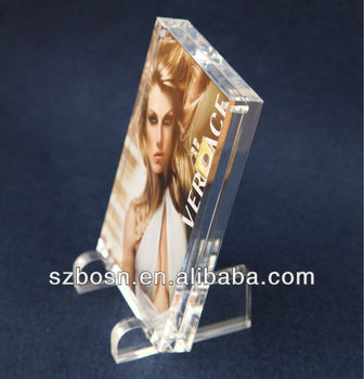 High Transparent Plexiglass picture block with two bottom Bases