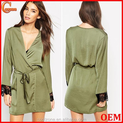 Regular fit wrap front satin robe wholesale women comfortable satin robe