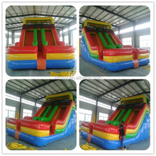 Red color big inflatable water park slide with pool