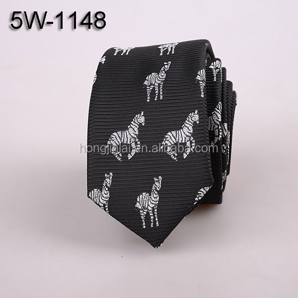 Zibra animal print black microfiber neckties Polyester woven mans ties 5W1148