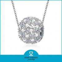 925 Sterling Silver Lucly Bead Pendant with Cubic Zircon