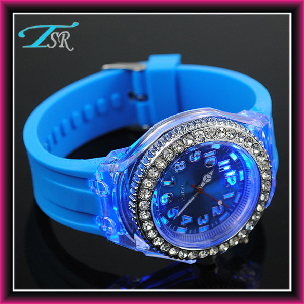 top selling products 2017 gifts rhinestone silicone flashing fashion colorful lights up watch hot in US