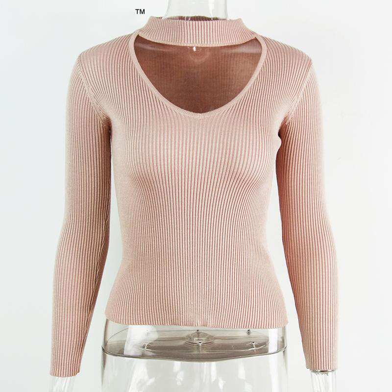 Autumn winter black halter knitted sweater White sexy pullover women tops Slim v neck long sleeve chic jumper pull femme