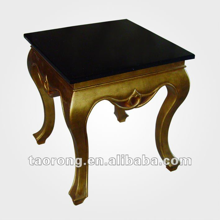 gold color coffee table with marble top ST-009-1