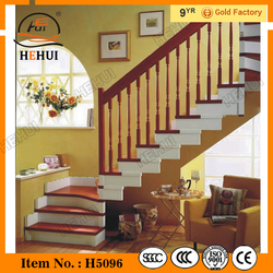 MT-TM004 Anti Collision Stair Railing System,indoor iron straight staircase,modern wood stairway