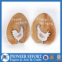 Wooden Egg with Chicken Picture Ornament for Easter Decoration